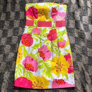 Lilly Pulitzer Strapless Floral Ribbon Waist Dress